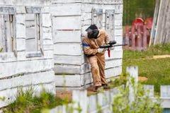 Θαλάσσιος στρατιώτης ιππικού στην τακτική στρατιωτική εκπαίδευση Στοκ Φωτογραφία
