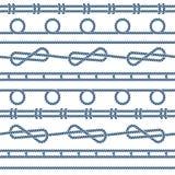 Θαλάσσιο άνευ ραφής διανυσματικό σχέδιο κόμβων σχοινιών Στοκ Εικόνες