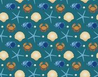 Θαλάσσιο άνευ ραφής σχέδιο, ύφος κινούμενων σχεδίων Υποβρύχιος κόσμος, άπειρο υπόβαθρο ζωής θάλασσας Αστερίας, κοχύλι, ψάρια διανυσματική απεικόνιση