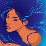 Θαλάσσιο μαυρισμένο ύφος κορίτσι απεικόνιση αποθεμάτων