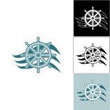 Θαλάσσιο τιμόνι λογότυπων στο κύμα Στοκ φωτογραφία με δικαίωμα ελεύθερης χρήσης