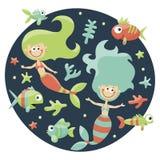 Θαλάσσιο χαριτωμένο σύνολο με τις γοργόνες, ψάρια, άλγη, αστερίας, κοράλλι, βυθός, φυσαλίδα Στοκ Εικόνα