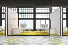 Θαλαμίσκος γραφείων με το κίτρινο πάτωμα διανυσματική απεικόνιση