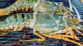 Θαλασσινά αστακών BBQ στις φλόγες Στοκ Φωτογραφία