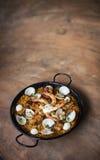 Θαλασσινά και παραδοσιακά ισπανικά τρόφιμα paella ρυζιού Στοκ Εικόνες