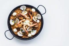 Θαλασσινά και παραδοσιακά ισπανικά τρόφιμα paella ρυζιού Στοκ Φωτογραφία