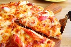 Θαλασσινά και τυρί πιτσών Στοκ Εικόνα