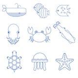 Θαλασσινά, ψάρια και υποβρύχια γραμμικά εικονίδια ζώων διανυσματική απεικόνιση