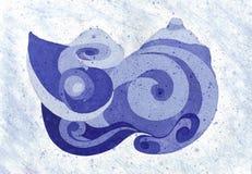 Θαλασσινό κοχύλι σχεδίων στην κινηματογράφηση σε πρώτο πλάνο παραλιών Έργο τέχνης σε Watercolors Στοκ Φωτογραφίες