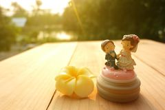Θα με παντρεψετε; Γαμήλια κούκλα και λουλούδι κεριών στοκ εικόνες με δικαίωμα ελεύθερης χρήσης