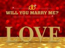 Θα με παντρεψετε με τη λέξη αγάπης Στοκ εικόνες με δικαίωμα ελεύθερης χρήσης