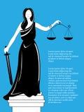 Θεά της δικαιοσύνης Themis Femida Θεά της δικαιοσύνης Femida με την ισορροπία και το ξίφος Άγαλμα Themis Στοκ Φωτογραφία