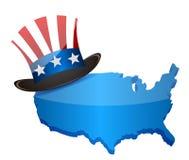 Θείος Σαμ και χάρτης αμερικανικών τοπ καπέλων â ελεύθερη απεικόνιση δικαιώματος