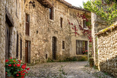 Θεαματικά παλαιά παραδοσιακά γαλλικά σπίτια πετρών σε Perouges, Γαλλία Στοκ Εικόνα