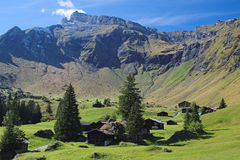 Θεαματικές θέες βουνού μεταξύ της Murren και Allmendhubel (Berner Oberland, Ελβετία) Στοκ φωτογραφία με δικαίωμα ελεύθερης χρήσης