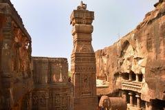 Θεαματική άποψη του ναού Kailasha, σπηλιές Ellora στοκ φωτογραφίες