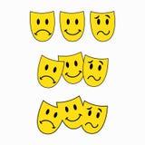 Θεατρικές μάσκες, τρία smileys, emoticon αυτοκόλλητη ετικέττα διανυσματική απεικόνιση