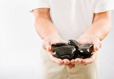 θεράπων πετρών μασάζ εκμετά&l στοκ εικόνες