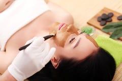 Θεραπεία SPA για τη νέα γυναίκα που έχει την του προσώπου μάσκα στο σαλόνι ομορφιάς - στο εσωτερικό στοκ εικόνα
