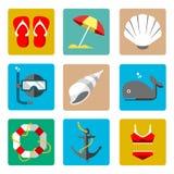Θερινά θαλάσσια εικονίδια Στοκ φωτογραφίες με δικαίωμα ελεύθερης χρήσης