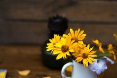 Θερινά κίτρινα λουλούδια σε μια άσπρη ζωή κύκλων ακόμα Στοκ εικόνες με δικαίωμα ελεύθερης χρήσης