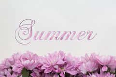 Θερινά λουλούδια - κείμενο με τα άνθη Στοκ Εικόνες