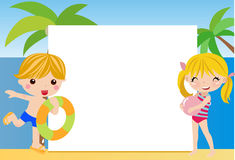Θερινά παιδιά και πλαίσιο Στοκ φωτογραφία με δικαίωμα ελεύθερης χρήσης