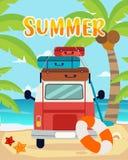 Θερινά ταξίδια, θερινός χρόνος, καλοκαίρι στην παραλία ελεύθερη απεικόνιση δικαιώματος