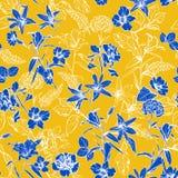 Θερινά φρέσκα μπλε βοτανικά λουλούδια στο χέρι κήπων που σύρεται κοντά διανυσματική απεικόνιση