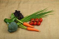 Θερινά χειροτεχνικά λαχανικά και πράσινα στον καμβά Στοκ Φωτογραφία
