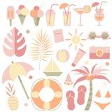Θερινές απεικονίσεις καθορισμένες Γειά σου καλοκαίρι Θερινά στοιχεία Σύνολο τροπικού, παραλία, παγωτό, κοκτέιλ, ταξίδι, στοιχεία  απεικόνιση αποθεμάτων