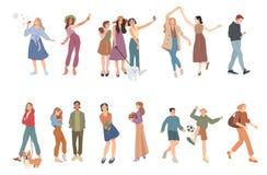 Θερινές υπαίθρια δραστηριότητες Άνθρωποι που περπατούν, παιχνίδι Ομάδα παιδιών, αγοριών και κοριτσιών, αρσενικών και θηλυκών κινο απεικόνιση αποθεμάτων