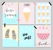 Θερινές χαριτωμένες καλλιτεχνικές κάρτες, αφίσες, εγγραφές διανυσματική απεικόνιση