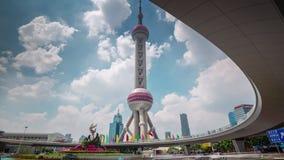 Θερινής ημέρας της Σαγγάης πόλεων χρονικό σφάλμα Κίνα πανοράματος πύργων τετραγωνικό 4k φιλμ μικρού μήκους