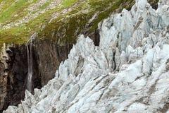 Θερινή άποψη του παγετώνα Argentiere στην κοιλάδα Chamonix Στοκ Φωτογραφία