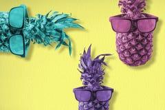 Θερινή έννοια διασκέδασης με τον ανανά στα γυαλιά ηλίου στοκ εικόνες με δικαίωμα ελεύθερης χρήσης