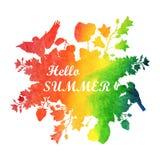 Θερινή απεικόνιση Watercolor Έμβλημα με τα λουλούδια και τα πουλιά ελεύθερη απεικόνιση δικαιώματος