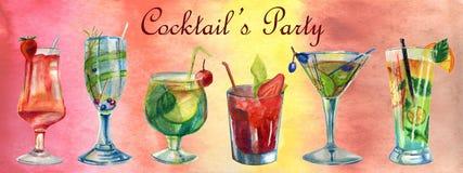 Θερινή απεικόνιση Watercolor Σύνολο κοκτέιλ διανυσματική απεικόνιση