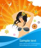 Θερινή αφίσα με το καυτό κορίτσι και τα μπλε κύματα Στοκ Φωτογραφία