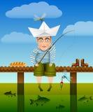Θερινή αλιεία Ο ψαράς νεολαίας κάθεται σε μια ξύλινη γέφυρα, τα πόδια του που ταλαντεύει στο νερό, και που αλιεύει Φωτεινά θερμά  διανυσματική απεικόνιση
