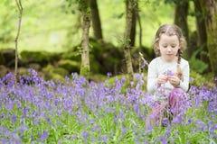 Θερινή δασική δασώδης περιοχή εξωτερικού λουλουδιών επιλογής χαμόγελου νέων κοριτσιών ευτυχής bluebell την άνοιξη στοκ φωτογραφία με δικαίωμα ελεύθερης χρήσης