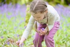 Θερινή δασική δασώδης περιοχή εξωτερικού λουλουδιών επιλογής χαμόγελου νέων κοριτσιών ευτυχής bluebell την άνοιξη στοκ φωτογραφίες