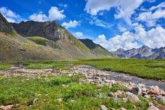 Θερινή ημέρα λιβαδιών ρευμάτων και βουνών Στοκ φωτογραφία με δικαίωμα ελεύθερης χρήσης