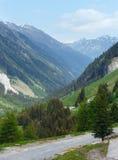 Αλπική άποψη από Kaunertaler Gletscherstrasse (Αυστρία) Στοκ Εικόνα