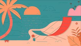 Θερινή διανυσματική απεικόνιση παραλιών Στοκ εικόνα με δικαίωμα ελεύθερης χρήσης