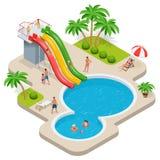 Θερινή διασκέδαση στο πάρκο aqua Παιδί με τους γονείς στη φωτογραφική διαφάνεια νερού στο aquapark θερινός ήλιος παραλιών αργοσχό ελεύθερη απεικόνιση δικαιώματος