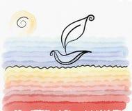 Θερινή κάρτα βαρκών φύλλων παραλιών Watercolor Στοκ Φωτογραφία