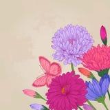 Θερινή κάρτα με τα ζωηρόχρωμα λουλούδια Στοκ φωτογραφία με δικαίωμα ελεύθερης χρήσης