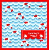 Θερινή κάρτα με τη σανίδα σωτηρίας Στοκ Εικόνες