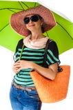 Θερινή ομπρέλα θαλάσσης γυναικών Glamor Στοκ φωτογραφία με δικαίωμα ελεύθερης χρήσης